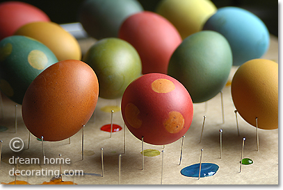 freshly dyed Easter eggs made from brown eggs