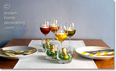 Quick & easy Easter table decorating idea with floating candles and mini Easter nests in glass tumblers