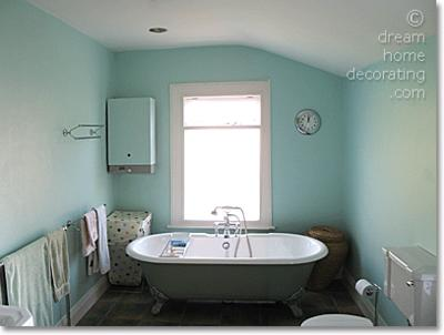 New bathroom walls in a lighter mint color