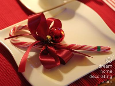 Ribbon garnished candy cane