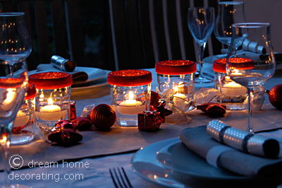 Christmas table setting with 'upcycled' jam jar lights