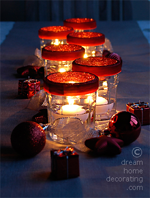 Closeup of the floating candles