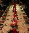 Advent party table in red-green-white-silver