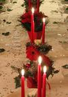 Close-up of red candles and flowers
