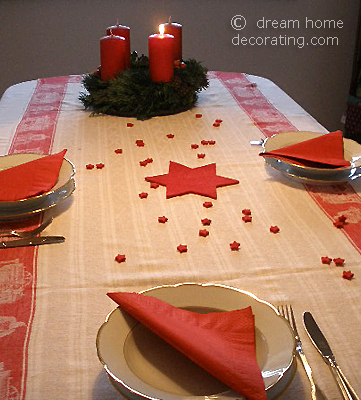 Advent table set for Sunday lunch