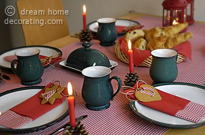 Closeup of Christmas table setting