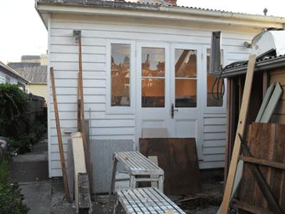 Old Bathroom Wall Turned Kitchen/Garden Door